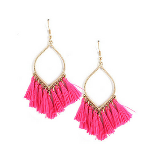 Pink Tassel Teardrop Dangle Earrings For Women - Fashion Jewelry