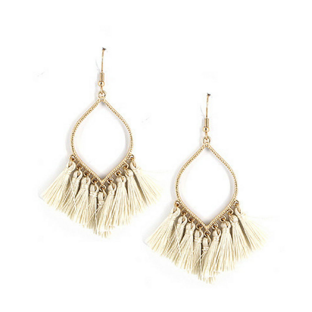 Natural Thread Tassel Dangle Earrings