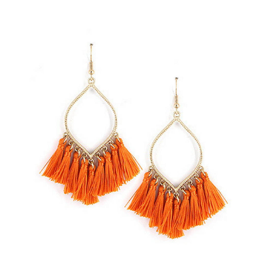 Orange Fringe Tassel Dangle Teardrop Earrings - Fashion Jewelry Earrings For Women