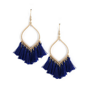 Sapphire Thread Tassel Dangle Earrings - Fashion Jewelry Earrings For Women