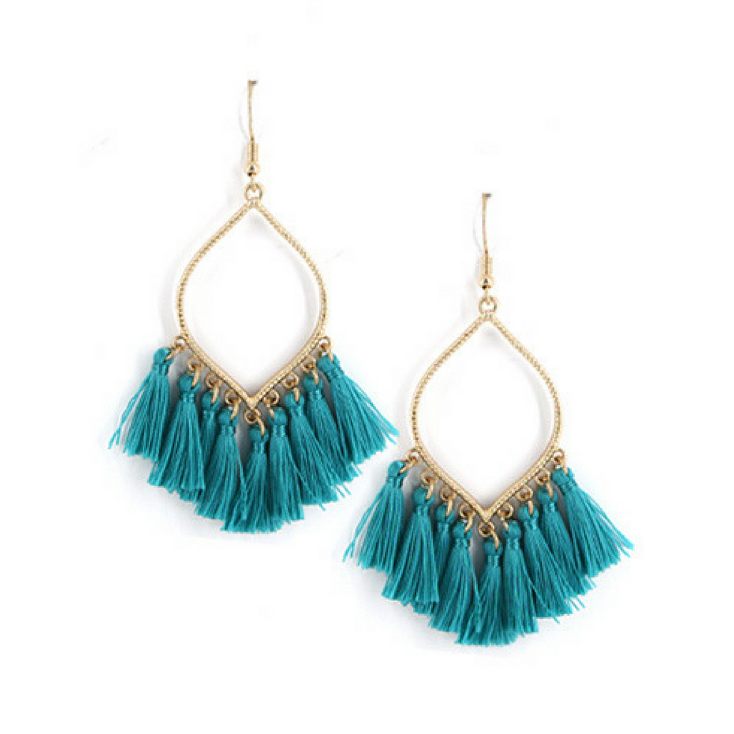 Turquoise Thread Tassel Dangle Earrings
