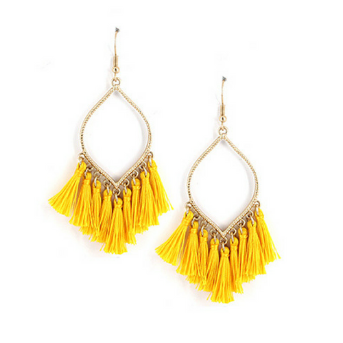 Yellow Thread Tassel Dangle Earrings