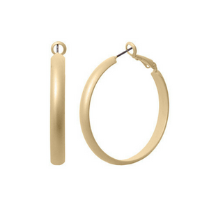 1.5 Inch Steel Matte Gold Hoop Earrings
