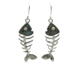 Silver & Abalone Fish Bone Dangle Earrings with Rhinestone Accents - Nautical Earrings