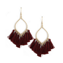 Burgundy Thread Fringe Tassel Teardrop Drop Dangle Statement Earrings - Women's Fashion Earrings