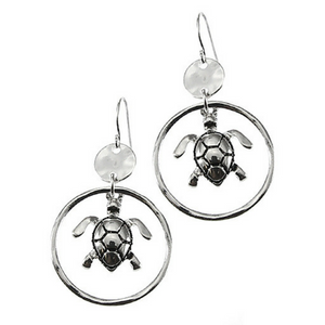 Silver Sea Turtle Circle Hoop Dangle Earrings - Beach Jewelry