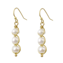 Gold Wire Wrapped Freshwater Pearl Dangle Earrings - Fashion Jewelry