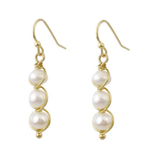 Gold Wire Wrapped Freshwater Pearl Dangle Earrings For Women - Fashion Jewelry