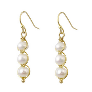 Gold Wire Wrapped 3 6MM Freshwater Pearl Earrings