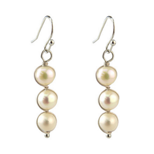 Silver Wire Wrapped Freshwater Pearl Earrings For Women - Fashion Jewelry