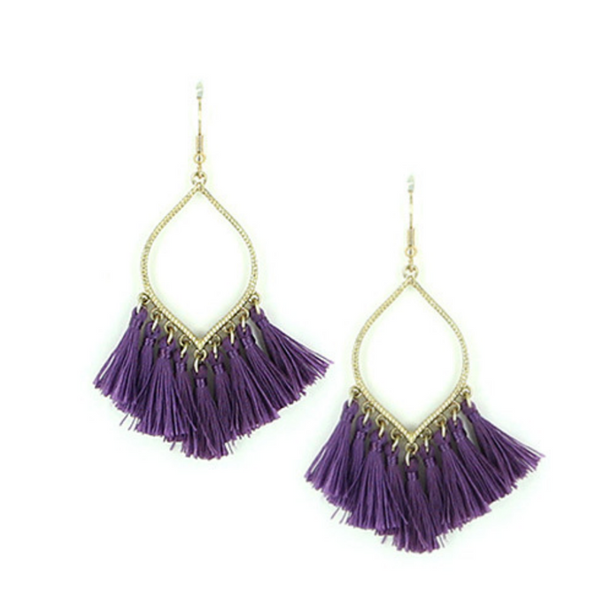 Purple Thread Tassel Dangle Earrings
