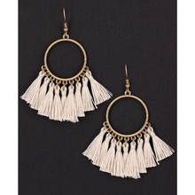 Natural Thread Tassel Circle Dangle Earrings