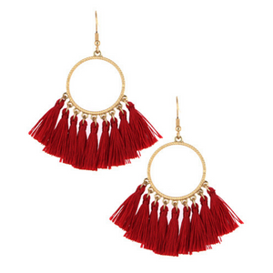 Red Thread Tassel Circle Dangle Earrings