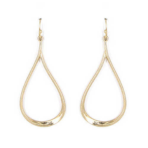 Worn Gold Teardrop Fish Hook Dangle Earrings
