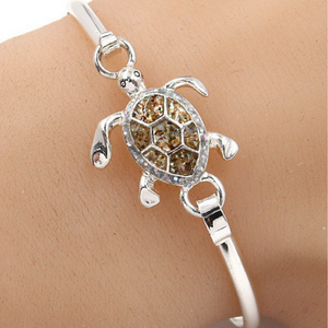 Sea Turtle Glitter Bangle Bracelet - Fashion Jewelry