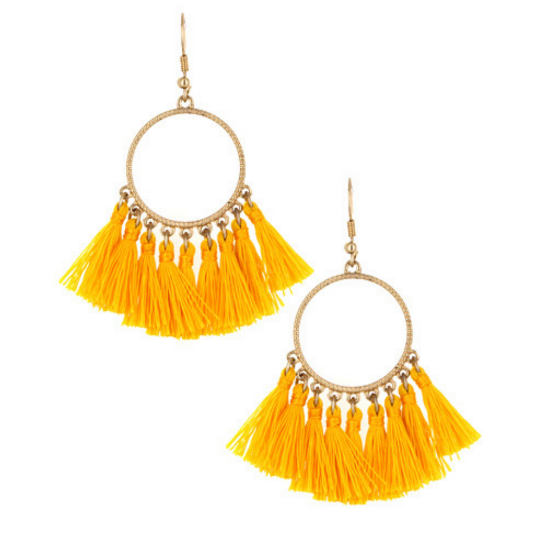 Yellow Thread Tassel Circle Dangle Earrings