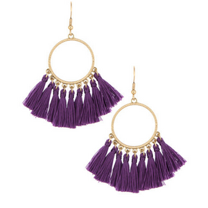 Purple Thread Tassel Circle Dangle Earrings