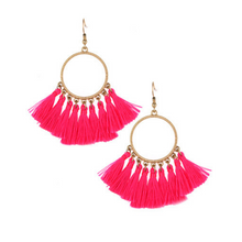 Pink Thread Tassel Circle Dangle Earrings
