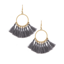 Gray Thread Tassel Circle Dangle Earrings
