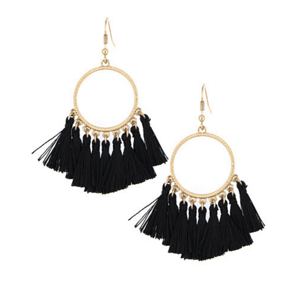 Black Thread Tassel Circle Dangle Earrings
