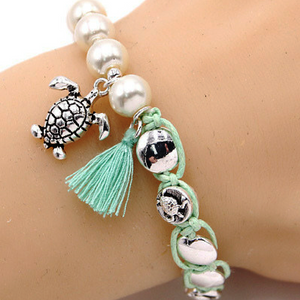 Sea Turtle Penny Wrap Pearl Stretch Bracelet