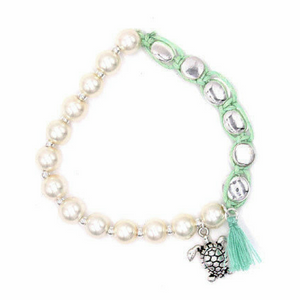 Sea Turtle Penny Wrap Pearl Stretch Bracelet - Top View