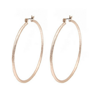 Classic Rose Gold Sand Blast Hoop Earrings For Women - Fashion Jewelry
