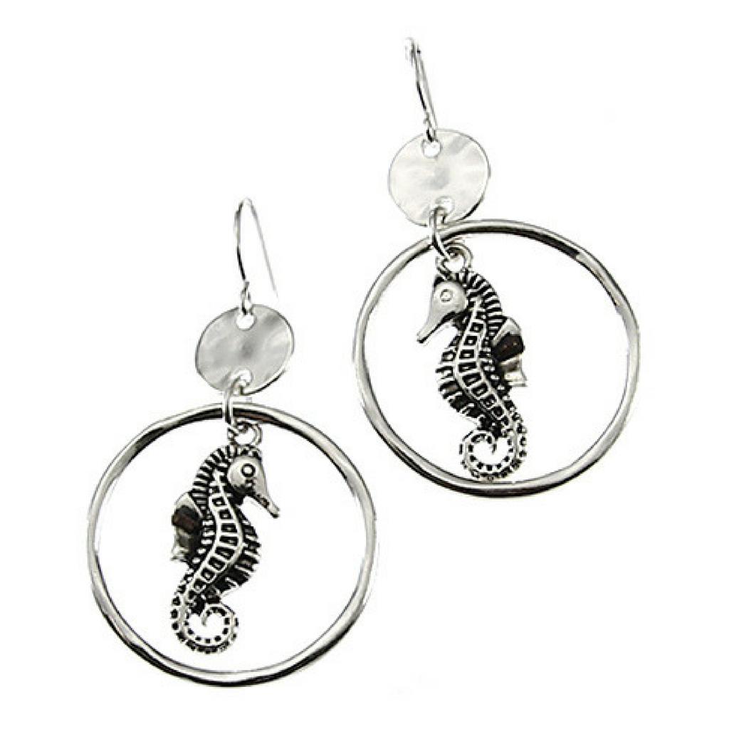 Silver Seahorse Circle Hoop Dangle Earrings - Nautical Earrings