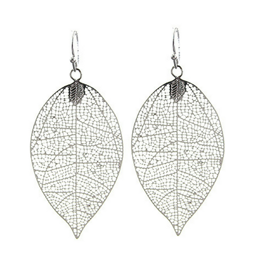 Silver Leaf Fish Hook Dangle Drop Earrings