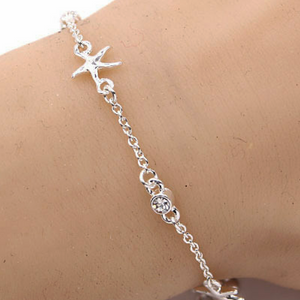 Starfish Adjustable Bracelet with Rhinestones