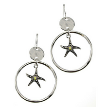 Starfish Charm Hoop Dangle Earrings With Rhinestone Accent