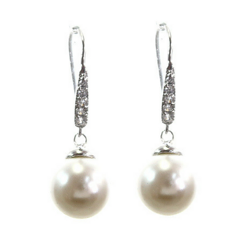 Pearl & Cubic Zirconia Dangle Earring 1 inch length