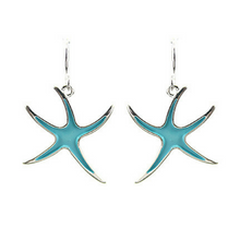 Silver and Blue Starfish Earrings - SeaSpray Jewelry