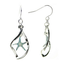 Silver Starfish Curved Hoop Dangle Earrings - Nautical Earrings