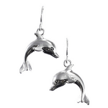 Dolphin Dangle Fish Hook Earring - Nautical Earrings