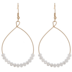 White Glass Bead Teardrop Dangle Earrings In Gold - Fashion Jewelry