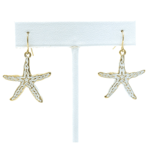 White Gold Starfish Dangle Earrings For Women - Fashion Jewelry