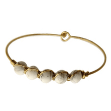 White Howlite Boho Gold Bangle Bracelet - Stacking Bracelet - Fashion Jewelry