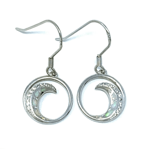 White Opal & CZ Wave Earrings In Sterling Silver - SeaSpray Jewelry