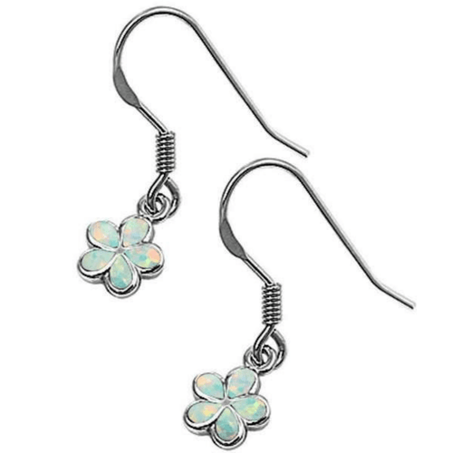 White Opal Plumeria Flower Sterling Silver Dangle Earrings