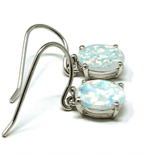 White Opal Round Sterling Silver Dangle Earrings - SeaSpray Jewelry