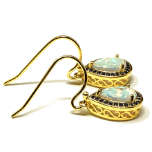 White Opal & Sapphire Dangle Gold Earrings - SeaSpray Jewelry