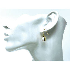 White Opal & Sapphire Gold Plated Teardrop Earrings - SeaSpray Jewelry