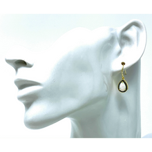 White Opal & Sapphire Gold Teardrop Earrings - SeaSpray Jewelry