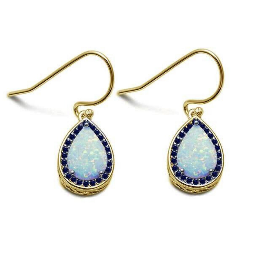 White Opal & Sapphire Teardrop Gold Plated Dangle Earrings - SeaSpray Jewelry