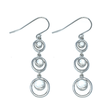 White Opal Sterling Silver Circles Dangle Earrings - SeaSpray Jewelry