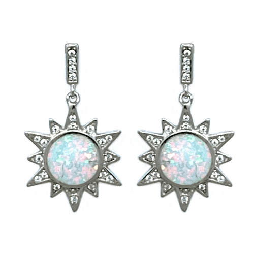 White Opal Sun CZ Sterling Silver Stud Earrings - SeaSpray Jewelry