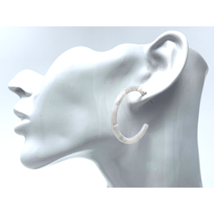 White Resin Circle Hoop Earrings - Statement Jewelry
