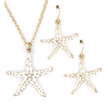 Gold & White Starfish Pendant Necklace Set