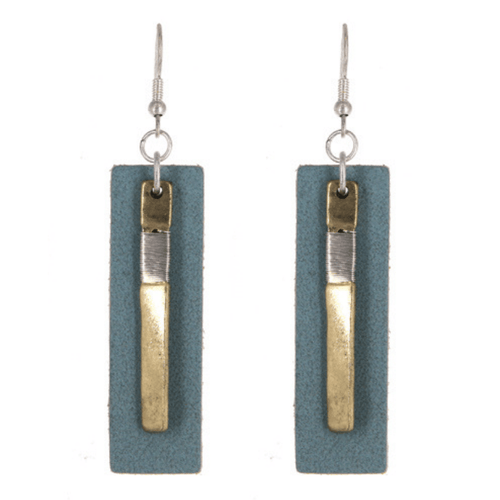 Worn Gold Blue Leather Rectangle Bar Drop Earrings - Fashion Jewelry